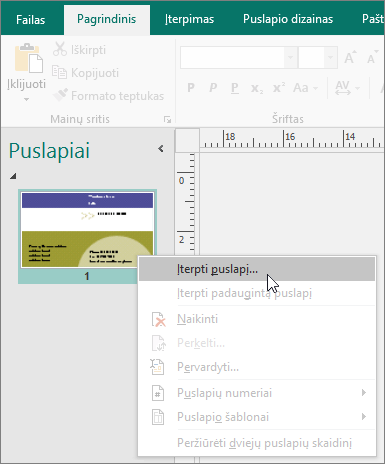 """Įterpkite puslapį puslapių naršymo srityje naudodami """"Publisher""""."""