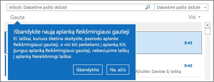 """Vaizdas, kuriame rodoma, kaip reikšmingiausi gautieji atrodo, kai ši funkcija pateikiama vartotojams ir """"Outlook"""" atidaryta iš naujo."""