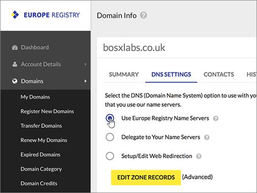 """Pasirinkite Naudoti """"Europa Registry"""" vardų serverius."""