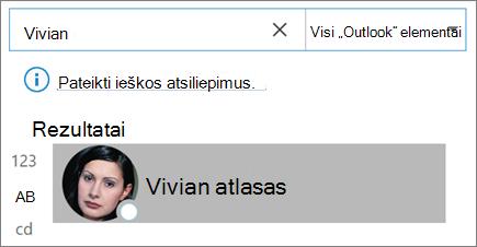 """Ieškos naudojimas programoje """"Outlook"""" norint rasti kontaktus"""