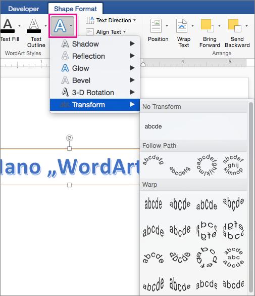 Figūros formato skirtukas, kuriame paryškinta parinktis Teksto efektai.