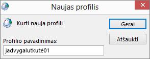 """Naujas """"Outlook"""" pašto profilis nustatomas kerimills"""