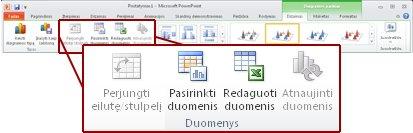 Parinkties Diagramos įrankiai skirtukas Dizainas.