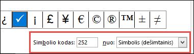 Laukas from nurodo, kad tai yra ASCII simbolis