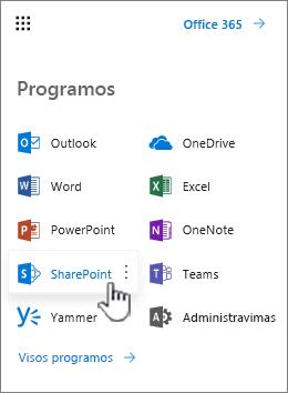 """""""Office 365"""" taikomųjų programų sąrašas iš taikomųjų programų vykdyklės mygtuko"""