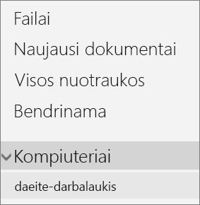 """""""OneDrive"""" portalo kairiosios pusės naršymas rodant išplėstą kompiuterio meniu"""