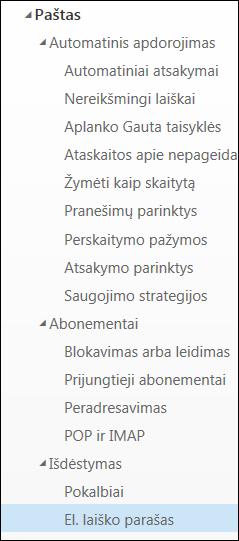 """Internetinės """"Outlook"""" el. pašto parašas"""