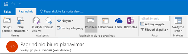 """Tai, ką grupės antraštės atrodo programoje """"Outlook 2016"""""""