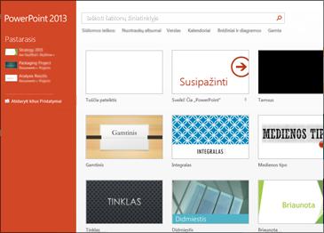 """""""PowerPoint 2013"""" pradžios ekranas"""