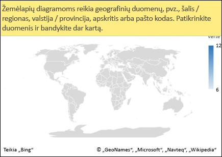 """""""Excel"""" žemėlapio diagrama su dviprasmiškais duomenimis"""