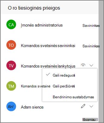 Tiesioginių prieigos saitų ekrano nuotrauka