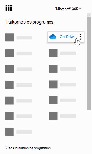 """""""Office 365"""" programų vykdyklė su pažymėta programa """"OneDrive"""""""