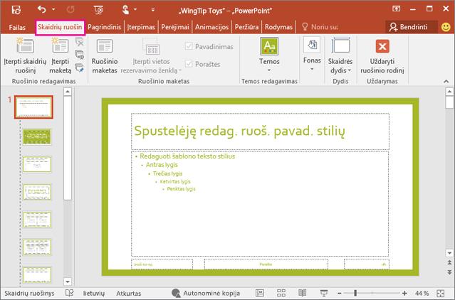 """""""PowerPoint"""" skaidrių ruošinio rodinyje rodomos skaidrės maketą"""
