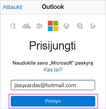 """Įveskite """"Outlook.com"""" elektroninio pašto adresą"""