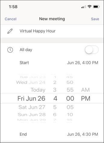 Susitikimo parametrai – mobili ekrano nuotrauka