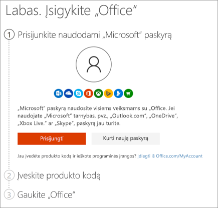 Rodomas setup.office.com puslapis, kuriame panaudojamas produkto kodas