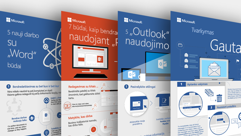 """Excel"", ""Outlook"", ""Word"" ir ""PowerPoint"" informacinės diagramos"