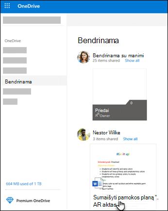 """OneDrive"" bendrinami aplankai"