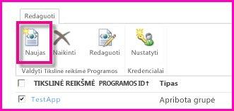 """""""SharePoint Online"""" administravimo centro puslapio, skirto apsaugotos saugyklos tikslinei taikomajai programai konfigūruoti, ekrano nuotrauka."""
