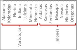 Duomenų hierarchija su padalų žymomis