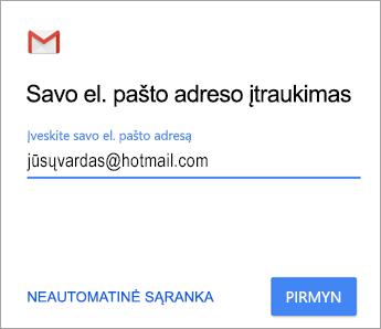 Įtraukite savo el.pašto adresą