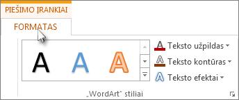 Skirtukai Piešimo įrankiai ir Formatavimas