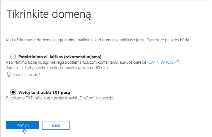 """Office 365"" įtraukti TXT įrašo instead_C3_2017526172713"