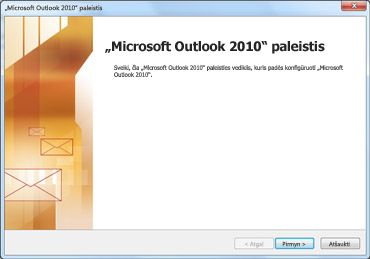 """""""Outlook 2010"""" paleisties langas"""
