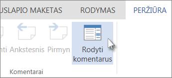 """Komandos Rodyti komentarus, esančios """"Word Web App"""" skaitymo rodinio skirtuke Komentarai, vaizdas"""