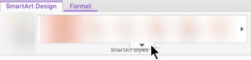 """Spustelėkite rodyklę žemyn nukreipta matyti daugiau """"SmartArt"""" grafinio elemento stiliaus parinktys"""