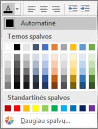 """""""Excel"""", skirtos """"Windows"""" kompiuteriui, šrifto spalvos meniu."""