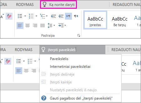 """Programoje """"Word Online"""" juostelėje rodomas ieškos laukas """"noriu sužinoti""""."""