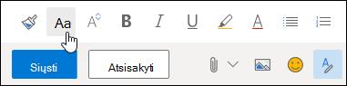Formatavimo įrankių juostos parinkties Šrifto dydis ekrano kopija.