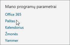 """""""Outlook Web App"""" dalies Parametrai srities """"Jūsų taikomosios programos parametrai"""" su žymikliu, nukreiptu į parinktį Paštas, ekrano kopija."""