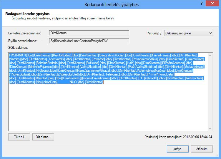 SQL užklausa, naudojama duomenims nuskaityti