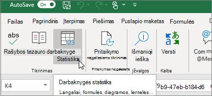 Darbaknygės statistikos mygtukas