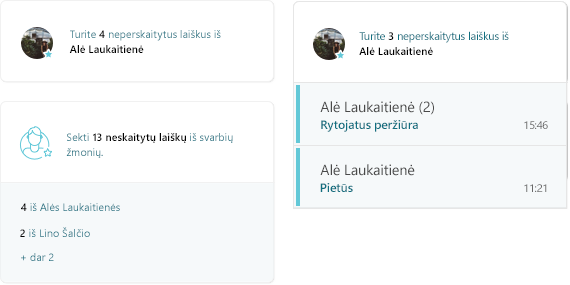 Ekrano nuotrauka MyAnalytics pašto veikla
