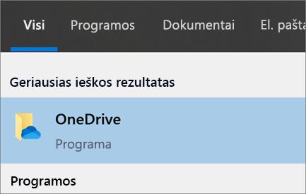 """""""OneDrive"""" kompiuterio programos ieškos sistemoje """"Windows 10"""" ekrano kopija"""
