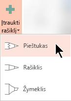 """""""Office 365"""" prenumeratoriams galite brėžti naudojant tris skirtingas tekstūras: pieštuku, rašikliu arba žymekliu"""