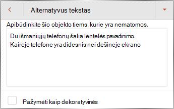 """Alternatyviojo teksto vaizdą programoje """"PowerPoint"""", skirta """"Android"""" dialogo langas."""