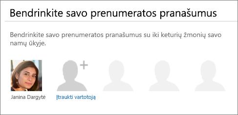 """Puslapio """"Office 365"""" dalies """"Prenumeratos pranašumų bendrinimas"""" ekrano kopija, kurioje rodomas saitas """"Įtraukti vartotoją""""."""