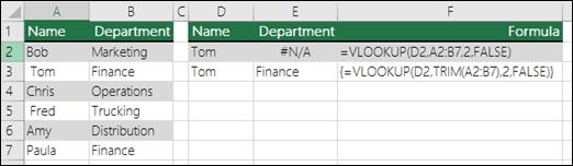 VLOOKUP naudojimas su TRIM masyvo formulėje, siekiant pašalinti pradžioje ir pabaigoje esančius tarpus.  Formulė langelyje E3 yra {=VLOOKUP(D2,TRIM(A2:B7),2,FALSE)} ir ją reikia įvesti paspaudžiant CTRL + SHIFT + ENTER.