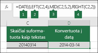 Teksto eilučių ir skaičių konvertavimas į datas