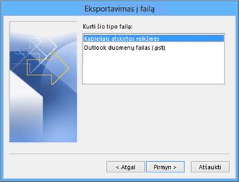 """""""Outlook"""" eksportavimo vediklis – pasirinkite CSV failą"""