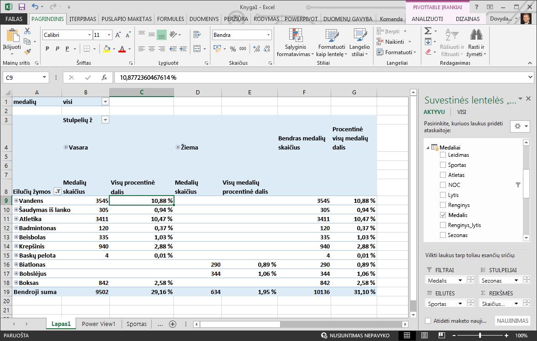 """""""PivotTable"""" pateikiami duomenys procentine išraiška"""