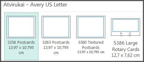 """Avery US Letter"" atviruko šablonas."