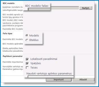 BDC modelio rodinio ekrano nuotrauka