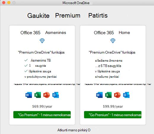 """""""OneDrive"""" ekrano kopija gauna dialogo langą """"Premium Experience"""""""