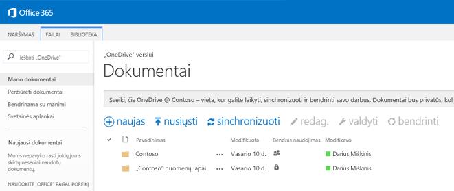 """""""Office 365"""" """"OneDrive"""" užklausos lauko ekrano kopija."""