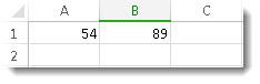 Skaičiai langeliuose A1 ir B1